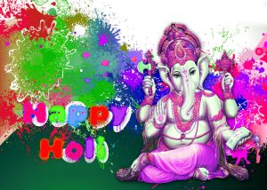 God Ganesha Happy Holi Images Photo Pics Download