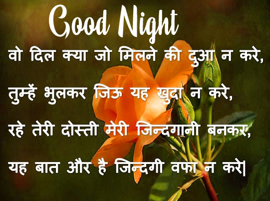 Good Night Images With Hindi Shayari photo hd