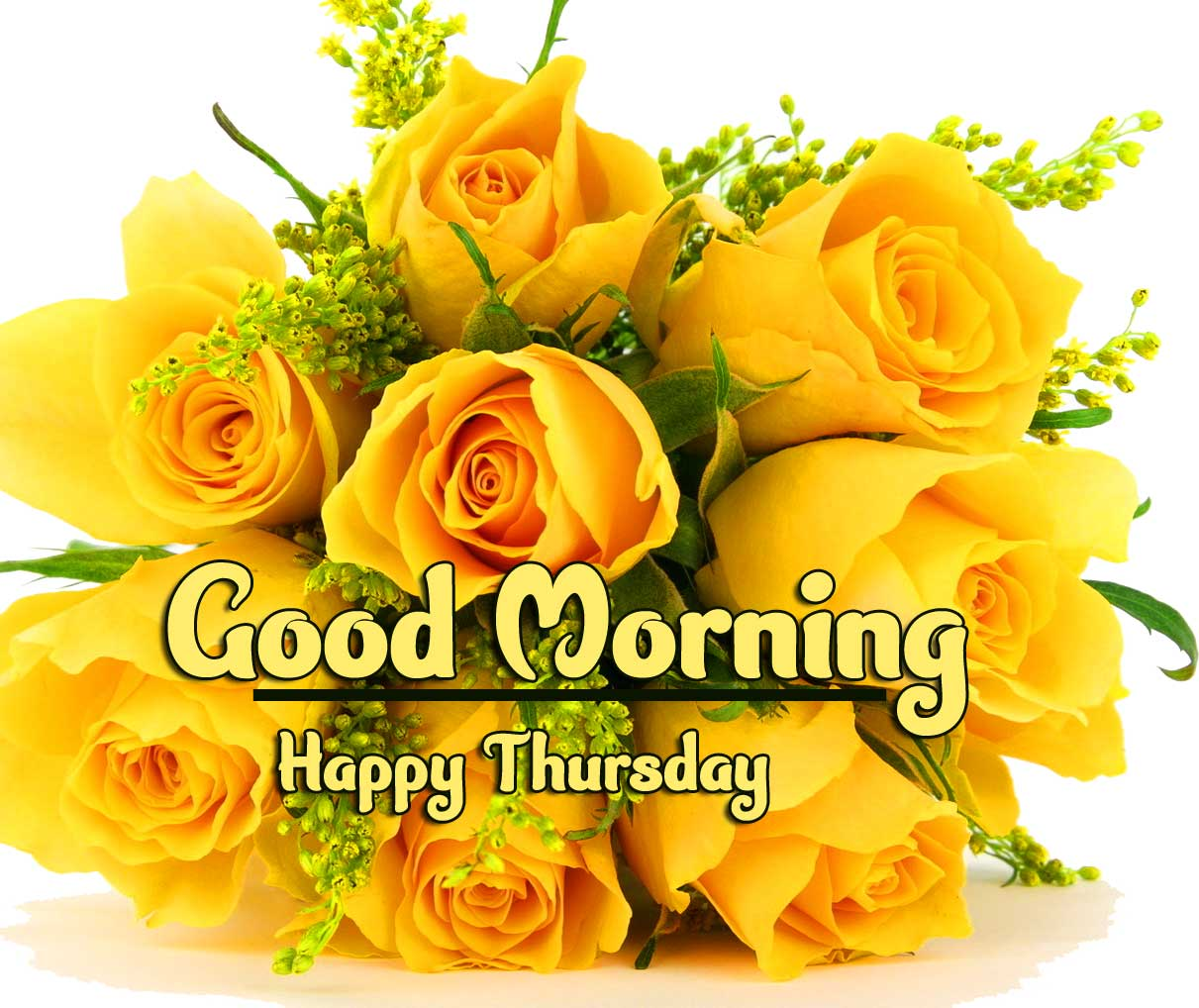 Thursday Good Morning Images Pics pictures With Yellow Rose