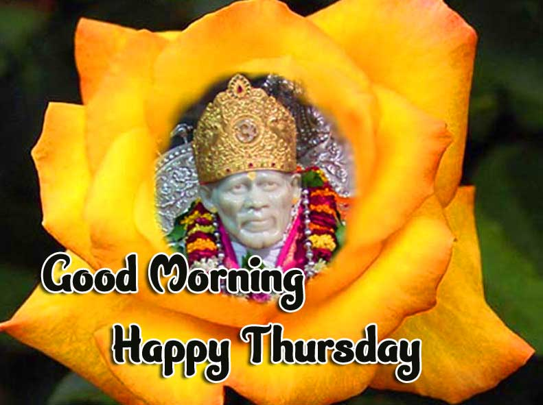 Beautiful Thursday Good Morning Images Pics photo With Lord Sai Baba