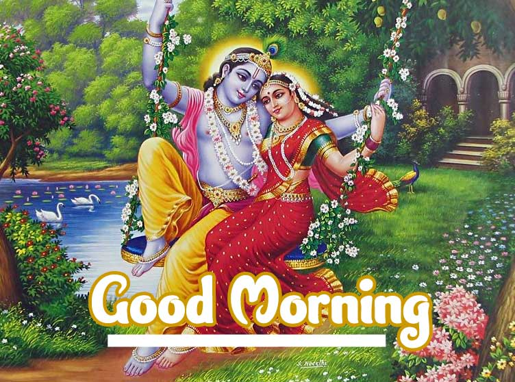 Good Morning Images 4K 1080p Pictures Wallpaper With Radha Krishna