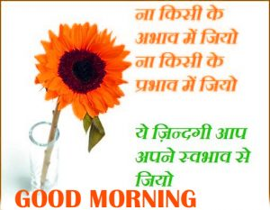 Good Morning Thoughts Images In Hindi With Flower