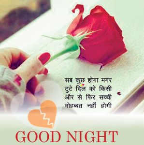 Hindi Good Night Images Photo Pictures With Love Shayari With Red Rose
